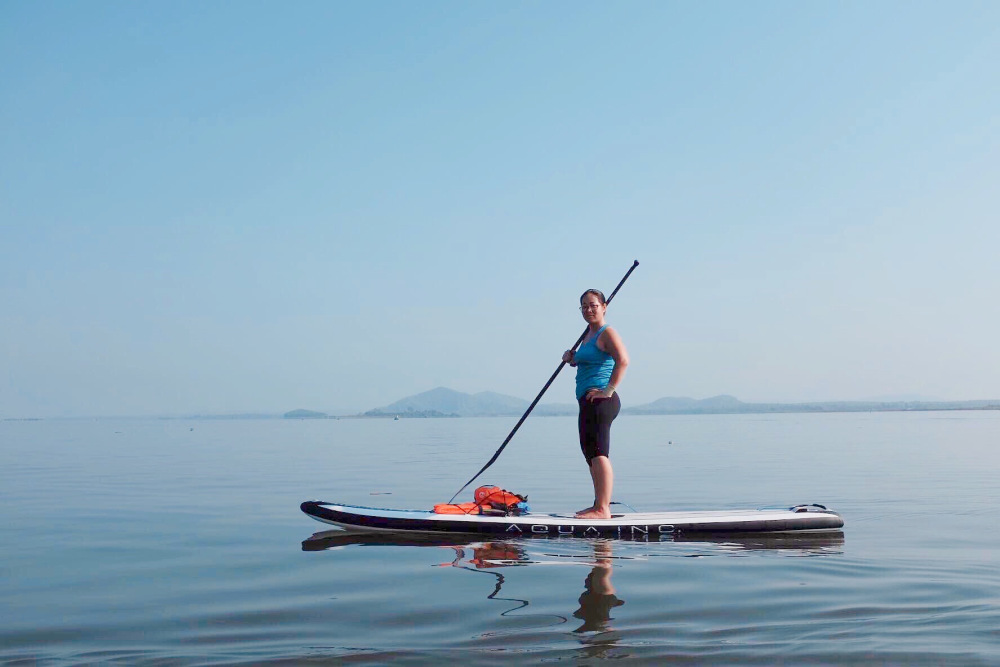 Stand-up Paddling on Tri An lake